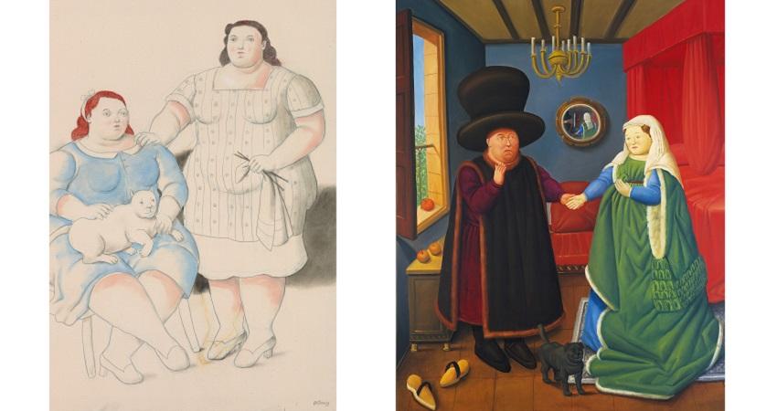Fernando Botero. Dos hermanas, 2019 / The Arnolfini según Van Eyck, 2006
